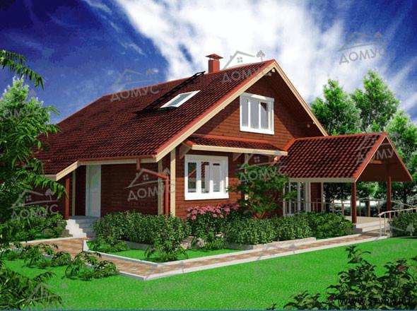 Проект деревянного дома с зимним садом и мансардой