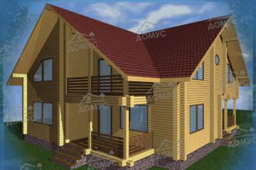 Проект двухэтажного дома из клееного бруса с балконом