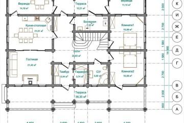 Проект дома с верандой и террасой из клееного бруса