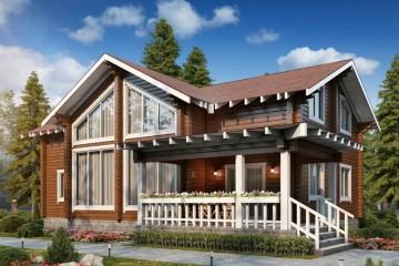 Проект двухэтажного дома с мансардой из клееного бруса