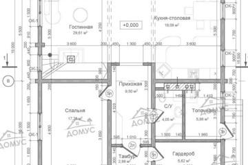 Проект двухэтажного дома с большой верандой из клееного бруса