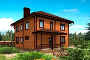 Проект деревянного дома с эркером и террасой из клееного бруса