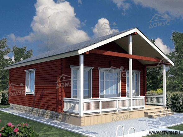 Проект одноэтажного дома с террасой из клееного бруса