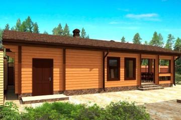 Проект деревянной бани-кухни с террасой