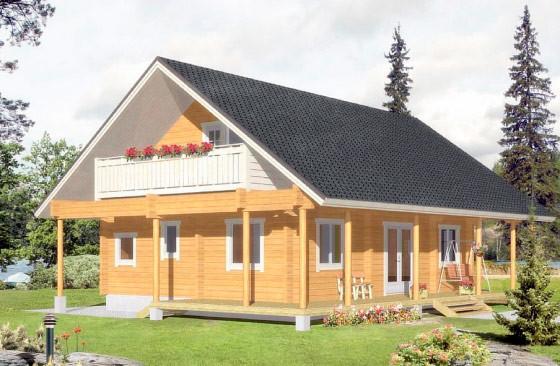 Проект двухэтажного дома с балконом и террасой из клееного бруса