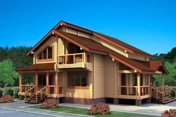 Проект дома с мансардой и балконом из клееного бруса