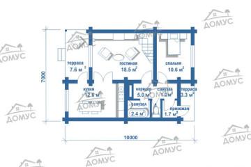 Проект частного дома с мансардой из клееного бруса