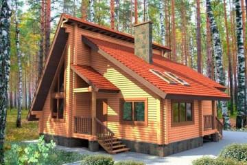 Проект одноэтажного дома с мансардой из клееного бруса