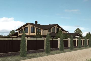 Проект двухэтажного дома из клееного бруса с гаражом