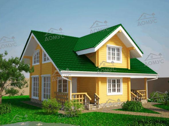 Проект двухэтажного дома 9 на 10 с мансардой из клееного бруса