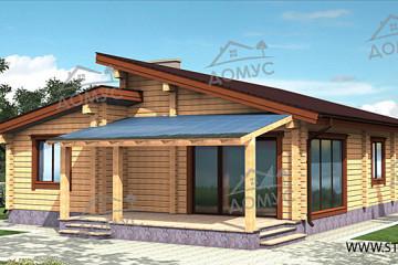 Проект деревянного одноэтажного дома с террасой и гаражом из клееного бруса