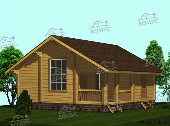 Проект деревянного дома с террасой и вторым светом из клееного бруса