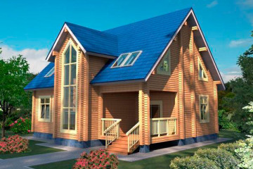Проект двухэтажного дома 10 на 12 с мансардой из клееного бруса