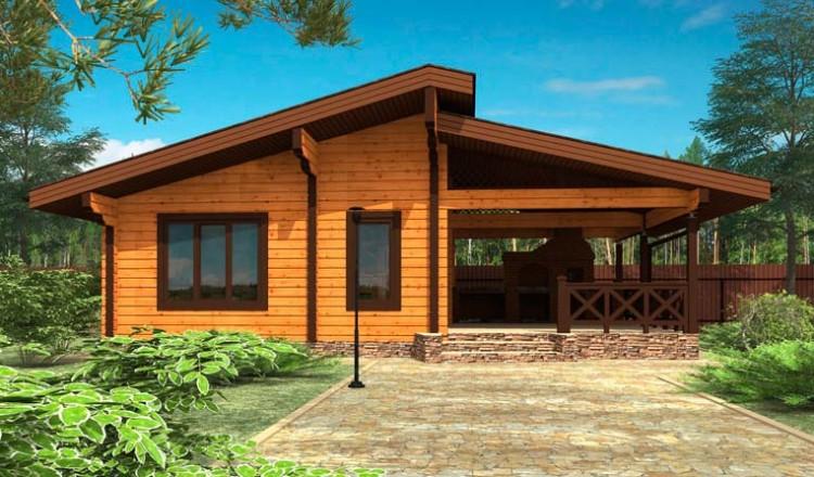 Проект деревянной бани 6 на 10 с террасой из клееного бруса