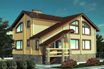 Проект двухэтажного дома 11 на 12 с мансардой из клееного бруса
