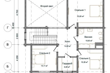 Проект деревянного дома с мансардой и вторым светом