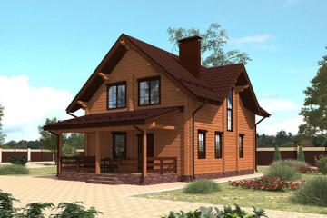 Проект дома с мансардой из клееного бруса