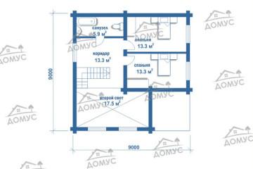 Проект дома 9 на 9 со вторым светом из клееного бруса