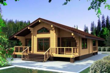 Проект одноэтажного дома с мансардой и террасой из клееного бруса