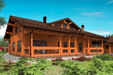 Проект деревянного дома с мансардой и верандой из клееного бруса