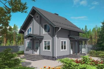 Проект деревянного дома 7 на 8 с мансардой из клееного бруса