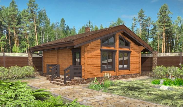 Проект деревянной бани с большими окнами
