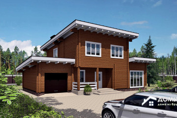 Деревянный двухэтажный дом с гаражом
