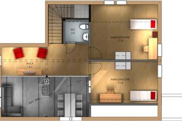 Проект дома с мансардой, с террасой и двумя спальнями из бруса