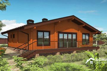 Деревянный одноэтажный дом с сауной