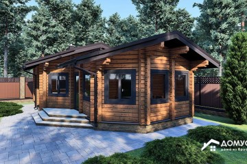 Проект деревянной бани с верандой