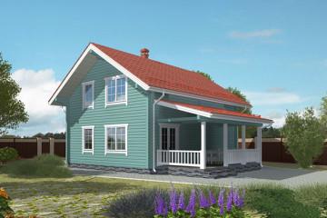 Проект деревянного домика с мансардой из клееного бруса