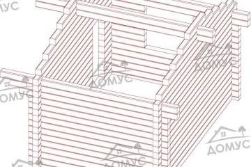Проект деревянной бани 3 на 4 из клееного бруса «Б-11»