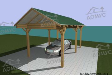Проект навеса гаража из бруса для автомобиля «НC-1»