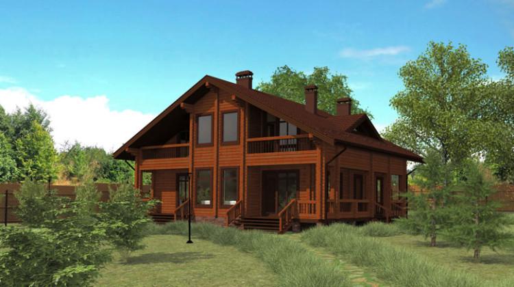 Проект двухэтажного дома из клееного бруса с террасой