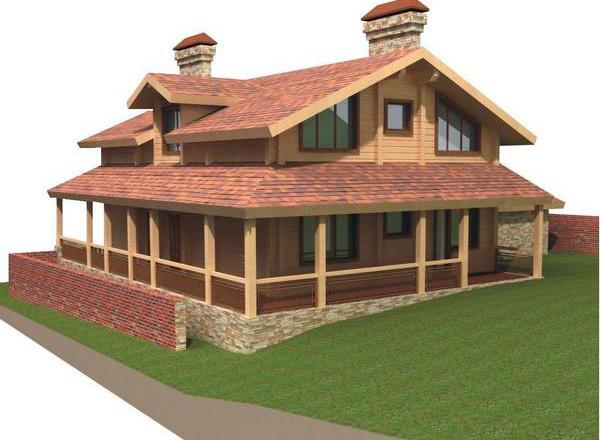 Проект двухэтажного дома 9 на 13 с мансардой и террасой из клееного бруса
