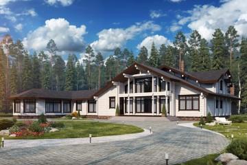 Проект элитного дома с бассейном и террасой из клееного бруса