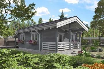 Проект деревянной бани с кухней и спальней из бруса