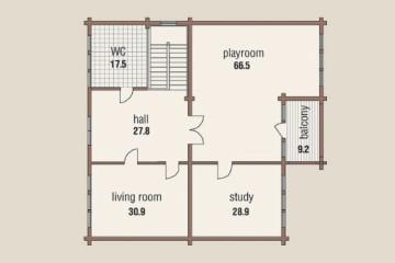 Проект дома с эркером в два этажа из клееного бруса
