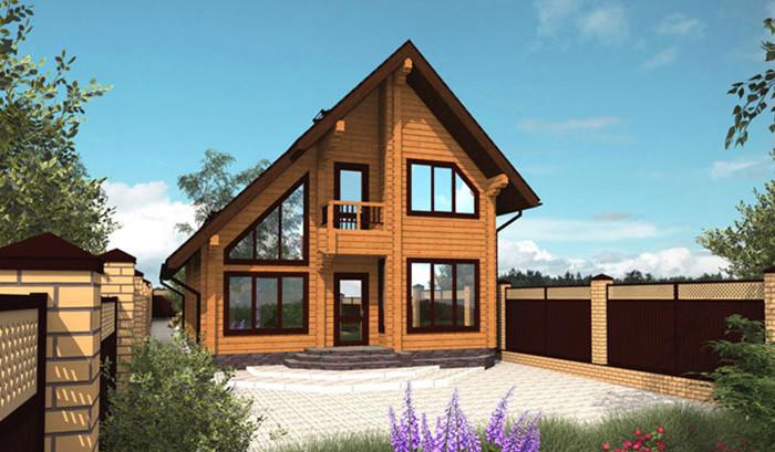Проект двухэтажного деревянного дома из клееного бруса