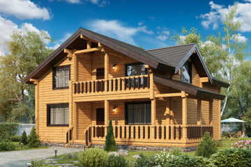 Проект деревянного дома с балконом и террасой