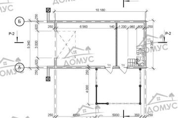 Проект двухэтажной бани с террасой из клееного бруса