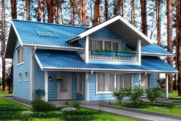 Проект финский дом с мансардой и балконом из клееного бруса