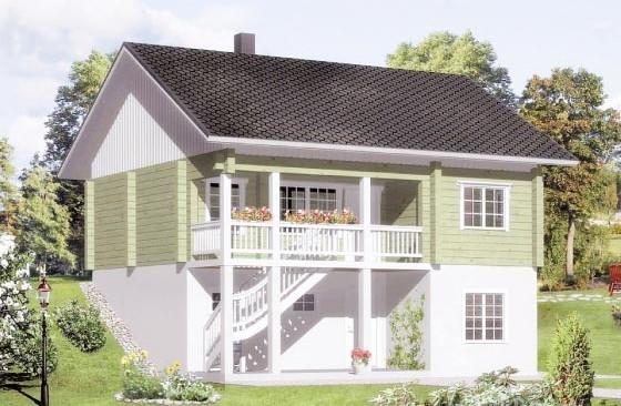 Проект дома шале 9 на 10 с балконом из клееного бруса