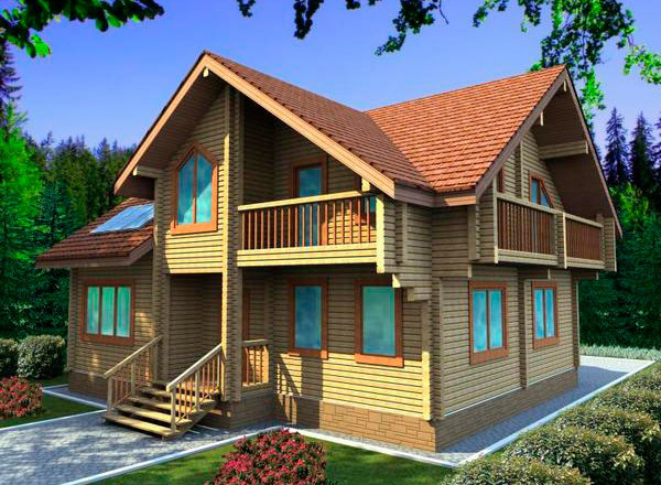 Проект дома с мансардой и двумя балконами из клееного бруса