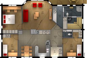 Проект одноэтажного дома с эркером и террасой из клееного бруса
