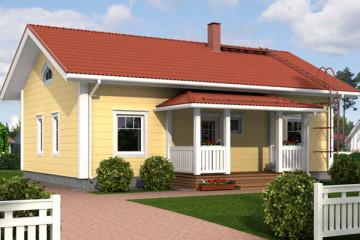 Проект финского одноэтажного дом с крыльцом из клееного бруса