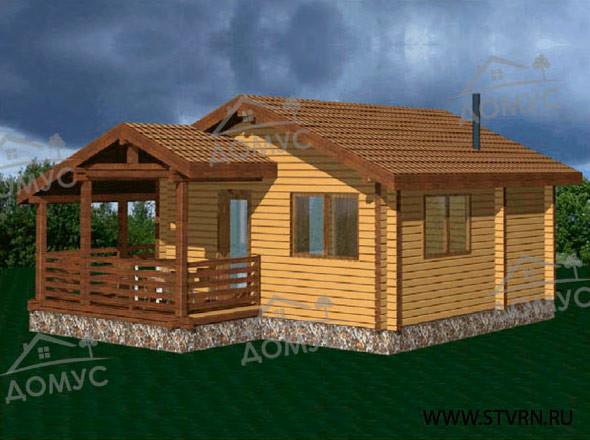 Проект деревянной бани 7 на 7 из клееного бруса с террасой