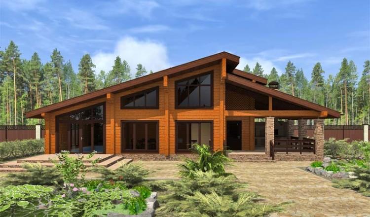 Проект деревянной бани с террасой и бассейном
