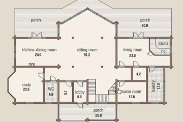 Проект финского дома со вторым светом и тремя балконами из клееного бруса