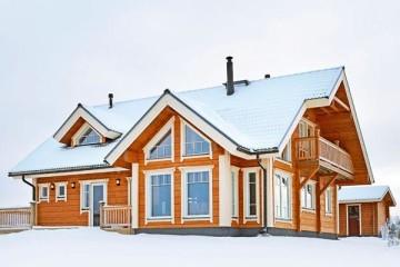 Проект финского дома со вторым светом и мансардой из клееного бруса